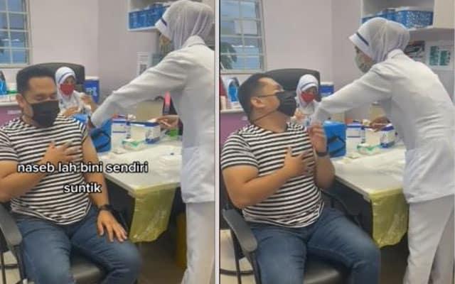 Gelagat suami takut jarum kena halau, isteri tolong cucukkan vaksin