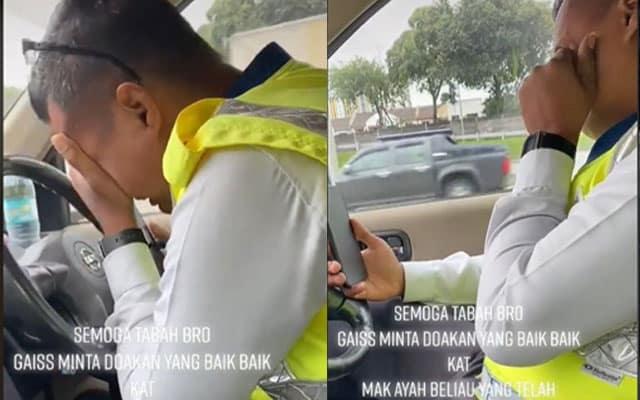 (VIDEO) Abang polis menangis ketika bertugas, terima berita ibubapa ditidurkan