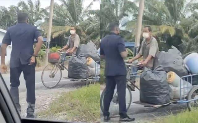 Polis tiba-tiba buka dompet selepas tahan warga emas kutip barang lusuh..