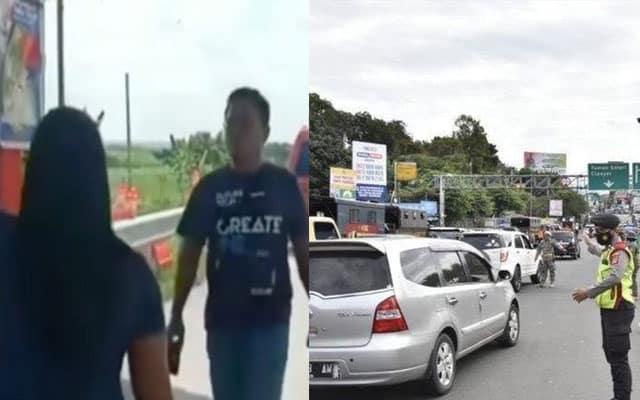 Suami kantoi curang di Roadblock, polis hanya mampu tengok isteri mengamuk